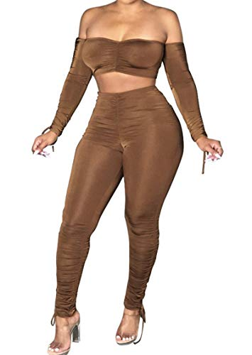 Women's Sexy 2 Piece Outfits Clubwear Off Shoulder Long Sleeve Crop Tops and Bodycon Stacked Leggings Set Tracksuit Brown M