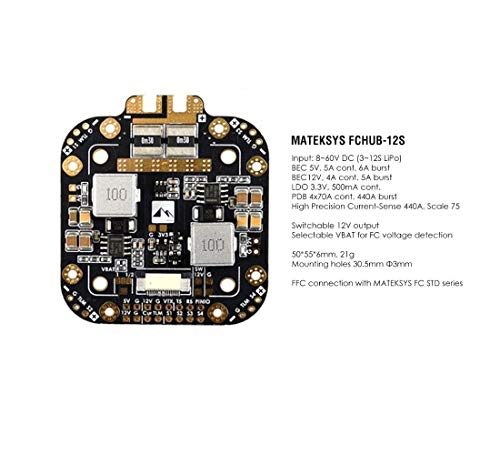 Matek X Class 12S PDB Power Distribution Board FCHUB-12S Supports 8~60V DC Input, with 5V 5A and 12V 4A Regulators up to 440A Current Sense for 4/5 inch 220mm 210mm 250mm X Style