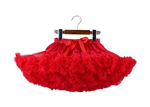 Girl's Fluffy Chiffon Tutu Skirt Solid Color Pettiskirt Dance Party,0-1 Years/XS,red