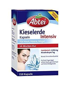 Abtei Kieselerde Intensiv - Kieselerdekapseln hochdosiert - hochwertiges Naturprodukt mit Silicium für Haut, Haare und Nägel - 10 Wochen Kur - 210 Stück