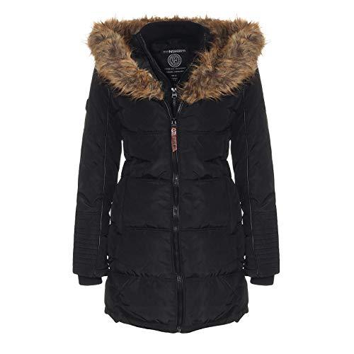 Geographical Norway Blustery - Chaqueta de invierno para mujer, con capucha de piel acolchada, abrigo, aislamiento térmico, transpirable