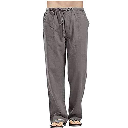 JIEXINXIN Pantalones Deportivos para Hombre Pantalones Casuales Pantalones EláSticos Lino para El Hogar Bolsillos de Gran TamañO