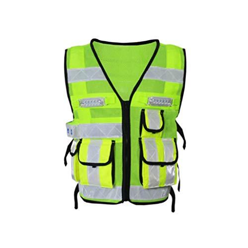 ZNZN Traje LEDReflective, Fluorescente Amarillo Reflectante de Seguridad Chaleco de Alta Visibilidad Transpirable Traje de Trabajo con Bolsillos y Cremalleras Chalecos de Seguridad