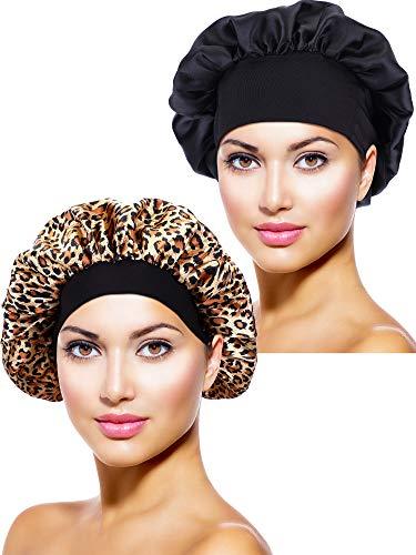 2 Stücke Satin Bonnet Nacht Schlaf Mütze Schlaf Kopf Abdeckung für Damen Mädchen Schlafen (Schwarz, Leoparden Gedruckt)