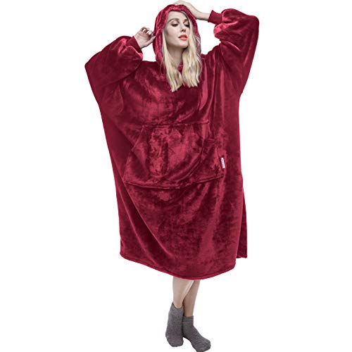 Blanket Sweatshirt Blanket Hoodie Wearable Blanket for Adult and Elderly Lengthened Super Warm and Cozy Oversized Hoodie Blanket for Women and Men Blanket with Sleeves and Giant Pocket Burgundy