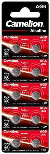 Camelion 12051006 Alkaline Knopfzellen ohne Quecksilber AG6/LR69/LR921/371/1,5 Volt, 10er-Pack