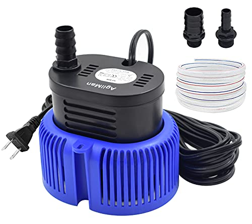AgiiMan Pool Cover Pump Above Ground - Submersible Swimming Sump Inground Pump, Water Removal with 16' Drainage Hose and 25 Feet Power Cord, 850 GPH, 3 Adapters, Blue