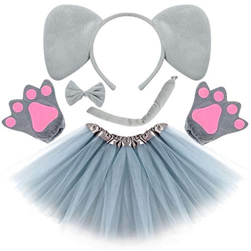 VAMEI Kinder Kostüm Set Haarreif Tier Tutu Rock Bowtie Schwanz Stirnband mit Ohren Karneval Kostüm Halloween Party Verkleidung Tier Cosplay Outfits Tüllrock Kinder (Elefant)