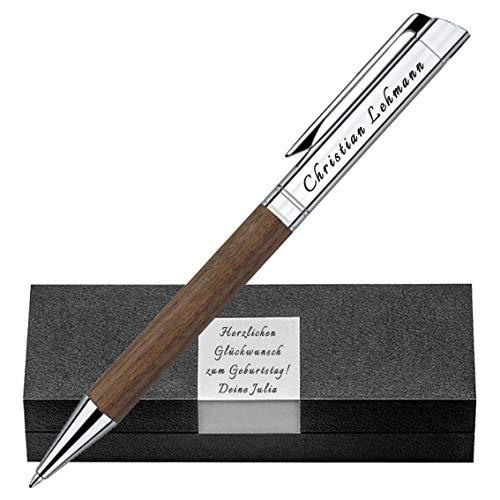 Senator - Premium Kugelschreiber aus Nussbaumholz und Metall Gravur Stift und Box Hochwertiger Stil erstklassige Verarbeitung TIZIO SILBER PS47-1