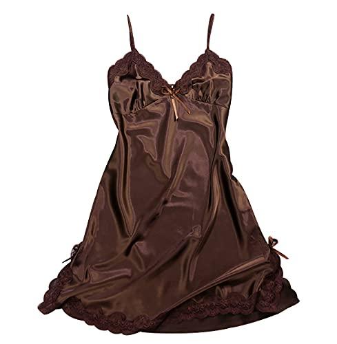 OADOBKICE Camisón Mujer Camisón Sexy Camisón Largo Mujer Pijamas Verano Mujer Camisón Mujer Camisón De Mujer Barato Camisón De Mujer Talla Grande Camisón De Satén Comfy Nightwear Señoras Café M