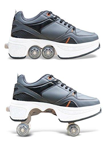 HDCM 2-in-1-Mehrzweckschuhe, Sportschuhe, Quad Skates, einstellbare Rollschuhe, EU38/UK5-5.5