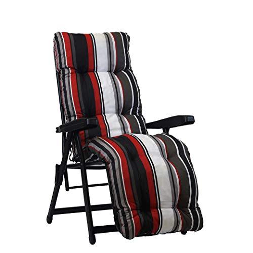 Cojín de recambio para sillón reclinable con reposapiés, superacolchado, con rayas rojas, blancas y negras