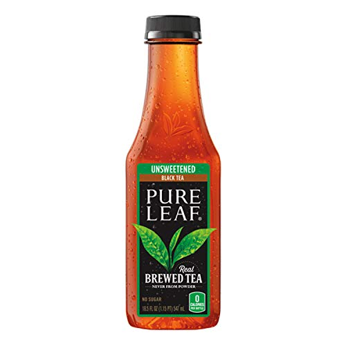 Pure Leaf Iced Tea, Unsweetened Black Tea, 18.5oz Bottles (12 Pack)