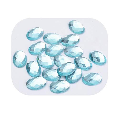 Boutique de los Colores - Juego de 10 Perlas Brillantes cabuchón 18 x 13 mm Forma Oval a facetas a Pegar acrílico Azul/Verde - Patines - Creation Perlas