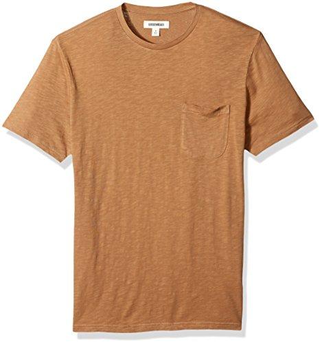 Amazon Brand - Goodthreads Men's Lightweight Slub Crewneck Pocket T-Shirt, Tan, XX-Large