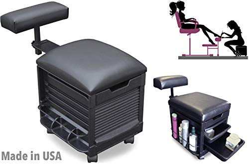 2316-HF Pedicure Nail stool, Nail Manicure Salon Spa Seat w/adjustable footrest by Dina Meri Made in USA