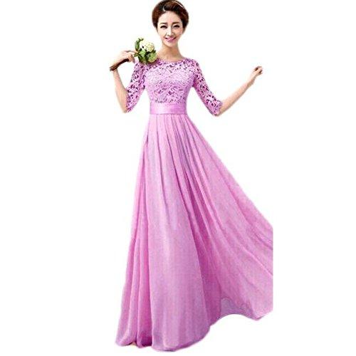Elecenty Abendkleid Sommerkleid Damen,Prinzessin Kleid Reizvolle Rundhals Frauen Freizeitkleidung Kurzarm Solide Kleid Chiffonkleid Bodycon Reißverschluss Cocktailkleid Partykleid (XL, Lila)