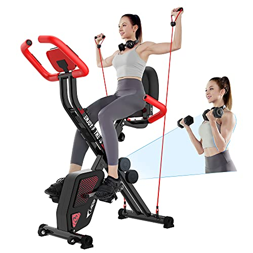 pooboo Foldable Exercise Bike Stationary Indoor Cycling Bike with Arm Resistance Bands