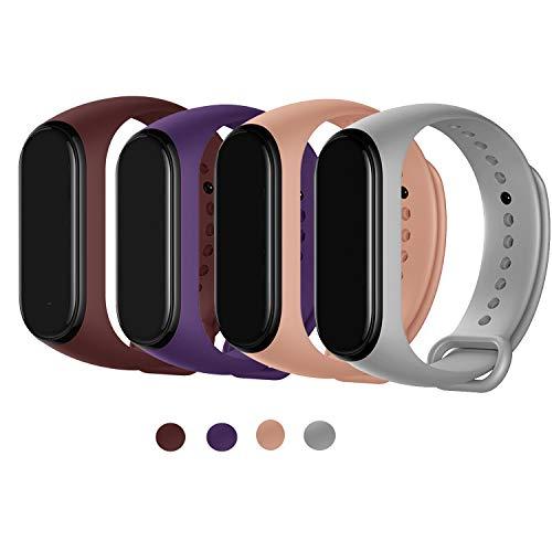 Maspen Armband Kompatible für Xiaomi Mi Band 4 Damen Herren, Silikon Ersatz Fitness Armband und Uhrenarmband Sportarmband und Wristband Armbänder für Xiaomi Mi Band 4/3
