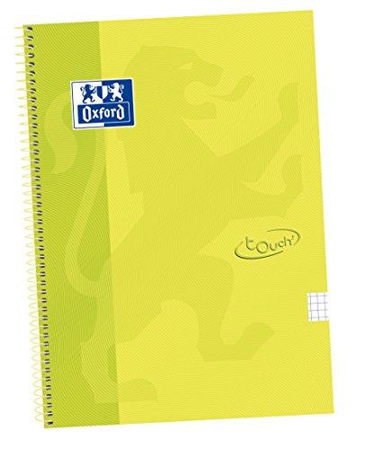 Oxford Touch - Cuaderno espiral tapa extradura, Fº, 4 x 4 c/m, color lima