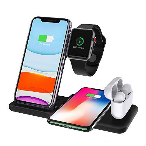ADDANY - Caricabatterie wireless da 15 W per Apple Watch Series 6/5/4/3/2; iPhone 12/12 Pro/11/11 Pro/XS/X/8; Airpods 1/2/Pro; pad di ricarica wireless per Samsung Galaxy S20/S10/S9/Note 10