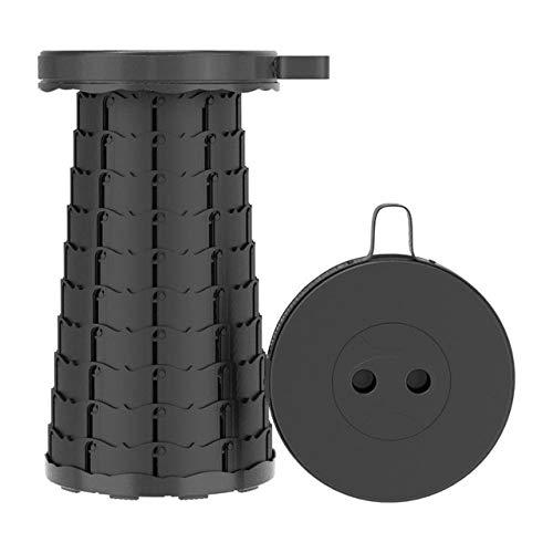 Taburete retráctil Plegable Chiar Taburete portátil para Exteriores Silla Plegable Taburete para Acampar PrácticoTaburete de plástico Plegable paraPesca- Negro