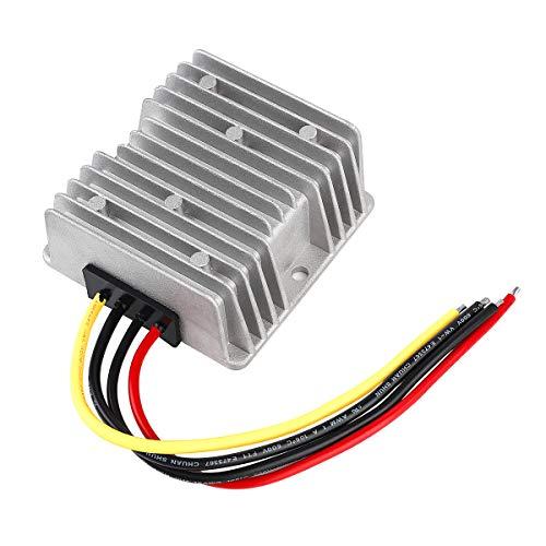 SUPERNIGHT DC DC Buck Converter Wasserdicht Spannung Konverter 48V auf 24V 10A 240W Voltage Converter Adapter Power Supply für Golfwagen, Motor, Lautsprecher, GPS, LED-Auto-Bildschirm ect. Silber