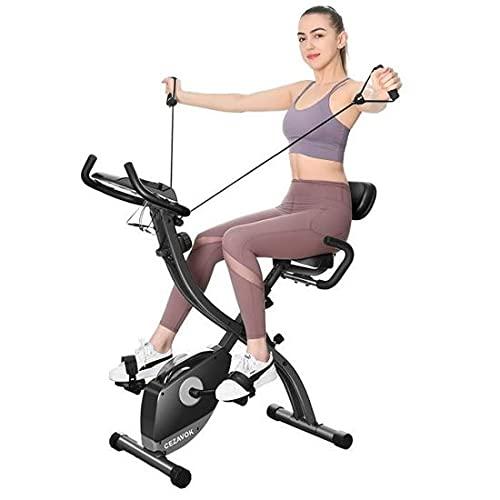 CEZAVOK Vélo d'Appartement Pliable 8 Niveaux de Résistance Magnétique Vélos d'Exercice avec Bande d'Exercice et Fréquence Cardiaque