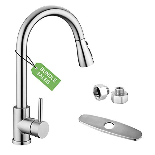 """Kitchen Sink Faucet, Kitchen Faucet Stainless Steel with Pull Down Sprayer Brushed Nickel High arc Single Handle Single Hole Pull Out Kitchen Faucets with 3/8"""" to 1/2"""" Adapter 10 inches Deck Plate"""