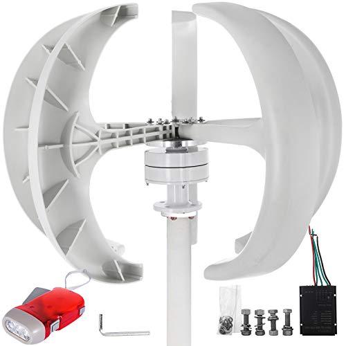 VEVOR Laterne Windkraftanlage Generator Ne-300 Haushalt Laterne Vertikale Windgenerator 300 W Windturbine windgenerator 12 V DC vertikale windkraftanlage weiß