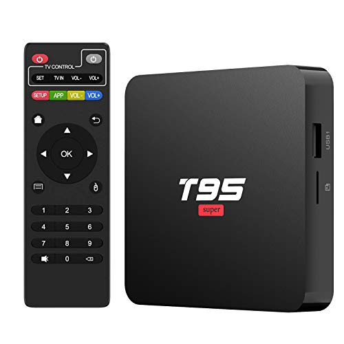 Android 10.0 TV Box,T95Super Android TV Box Quad-Core CPU 2GB RAM 16GB ROM Media Player Support 3D/4K/H.265/USB 2.0/2.4G WiFi Smart TV Box