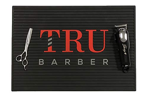 Tru Barber Mat 19' x 13' Flexible PVC Station Mat, Professional Mat, Salon and Barbershop work Station pads, Beauty salon tools hairstylist, Counter mat for clippers, Anti slip (Black/Red)