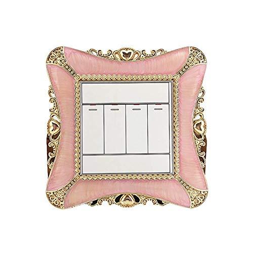 Vektenxi - Adhesivo de plástico para interruptor de luz, diseño cuadrado, color rosa