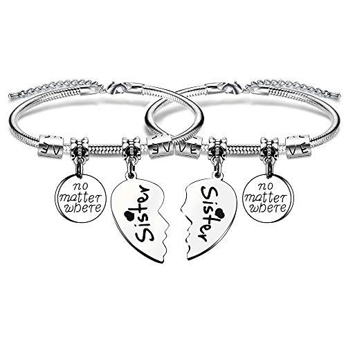 KENYG 2 Stück gebrochene Herzform Anhänger Big Sis Little Sis Frauen Charm Schlangenarmband für Schwester oder beste Freunde (schwarz)