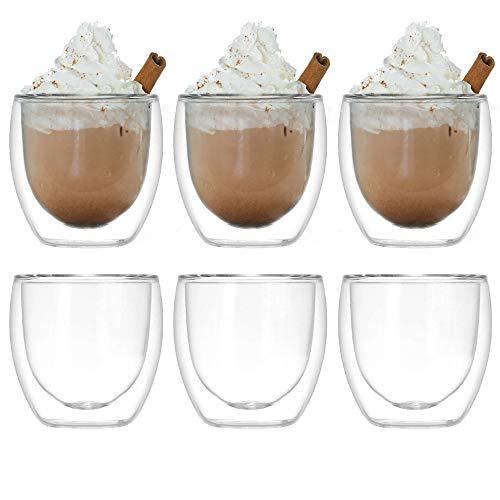 volila Thermogläser doppelwandig Espresso Gläser, EIN doppelwandiges Thermo Tassen Set für Heißgetränke und Kaltgetränke, Wein, Kaffee, Eistees und Cocktails (250ml)