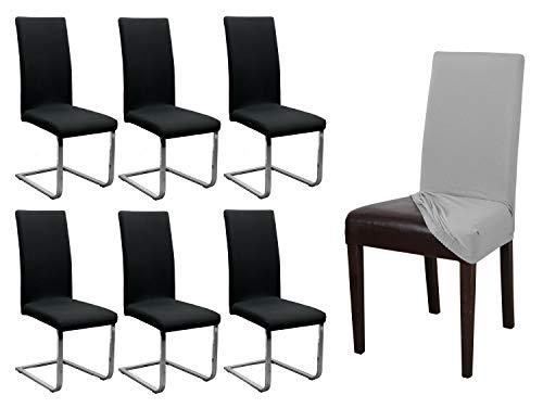 BEAUTEX 6er Set Jersey Stuhlhusse, elastische Stretch Husse Baumwolle Bi-Elastic, Farbe wählbar (Schwarz)