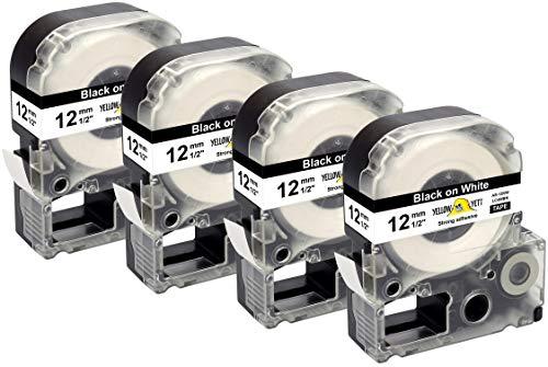 Yellow Yeti 4 Cassette LC-4WBN LC-4WBN9 nero su bianco 12mm x 8m Nastri compatibili per Etichettatrici Epson LabelWorks LW-300 LW-300L LW-400 LW-500 LW-600P LW-700 LW-900P LW-1000P & KingJim Tepra Pro