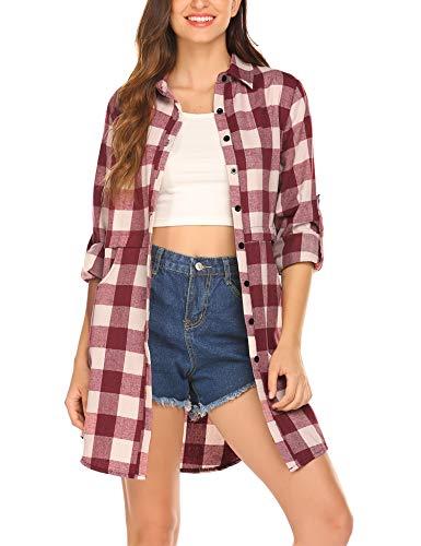 Unibelle Damesshirt met lange mouwen geruit hemd geruit hemd hemdjurk blouse-jurk oversize cardigan top shirt jurk ruiten jurk