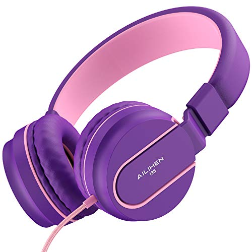 AILIHEN I35 Kid Headphones with Microphone Volume Limited 85dB Children Girls Boys Teen Lightweight Foldable Wired Headset for School Online Course Chromebook Cellphones Tablets (Pink Purple)