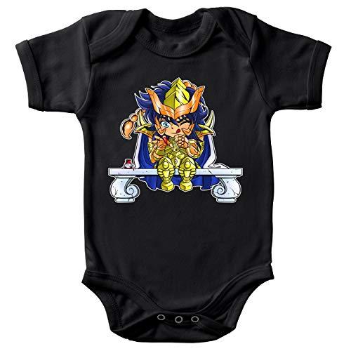 Okiwoki Body bébé Manches Courtes Noir Parodie Saint Seiya - Milo du Scorpion Le Chevalier d'or - L'ongle écarlate :(Body bébé de qualité supérieure de Taille 6 Mois - imprimé en France)