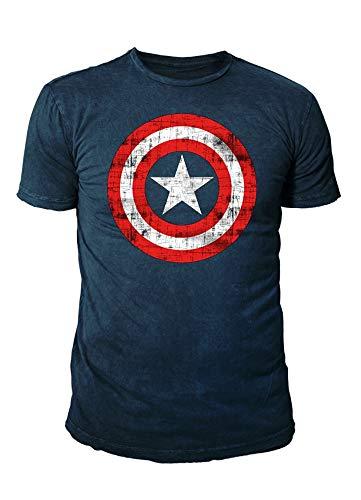 Captain america - T-shirt Avengers Premium pour homme – Vintage Shield (bleu marine) (S-XXL) - Bleu - Large