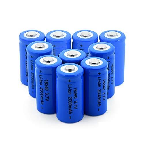 RitzyRose Batería de iones de litio de 3,7 V, 2000 mAh, 16340, batería recargable para CR123A CR17345 K123A VL123A DL123A 5018LC (10 unidades)