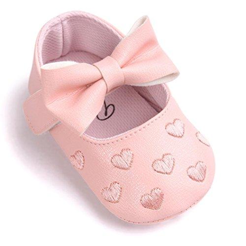 kingko® bébé Fille Chaussures en Cuir Sneaker Anti-dérapant Souple Sole Toddlerr avec Bowknot (12~18 Mois, Rose)