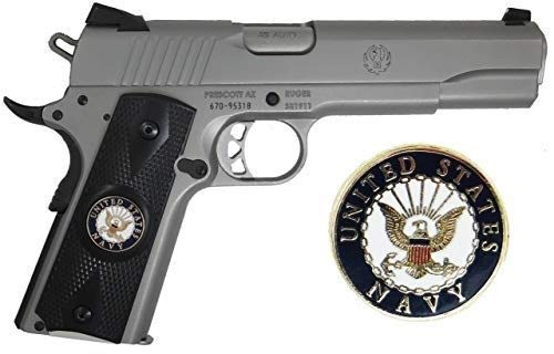 Garrison Grip 1911 Colt Full Size and Clones with US Navy Porcelain Medallion Set (Grips ONLY) in Ebony Black Color…