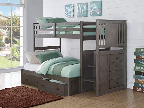 donco kids bunk beds Donco Kids Princeton Stairway Bunk Bed, Twin/Full, Slate Grey