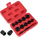 Yorking Bolt Nut Remover Set 11Pieces,Twist Socket Set,Bolt Remover Tool Set,Nut Stud Extractor Socket Sets for The Removal of Locking Wheel Nuts