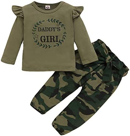 4T Girls Pants Set Daddy s Girl Baby Clothes Long Sleeve Ruffle Shirt Tops with Camo Pants Toddler product image