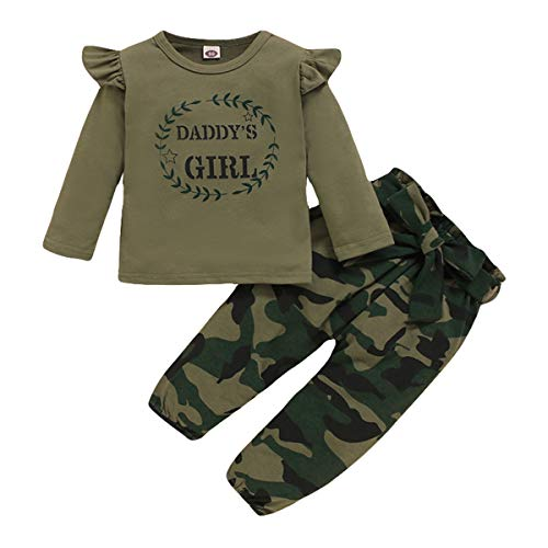 3T Girl Clothes Cotton Daddy's Girl Print Long Sleeve Shirt Camo Pants 2pcs Toddler Baby Camouflage Outfits Set