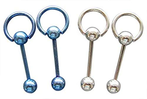 JEAN'S FRIEND 14G SS 316L Steel Pacific Blue Straight Barbell Captive Ring Body Piercing Jewelry 4 Pack