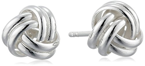 Amazon Collection Sterling Silver Thick Love Knot Post Earrings